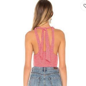 Free People Tops - Free People Top Halter in White & Red HOT NWT